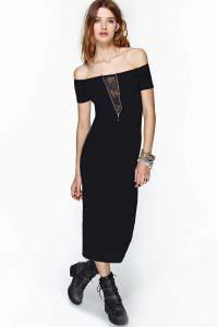 שמלת מקסי עם מחשוף תחרה - Nasty Gal ₪119.72
