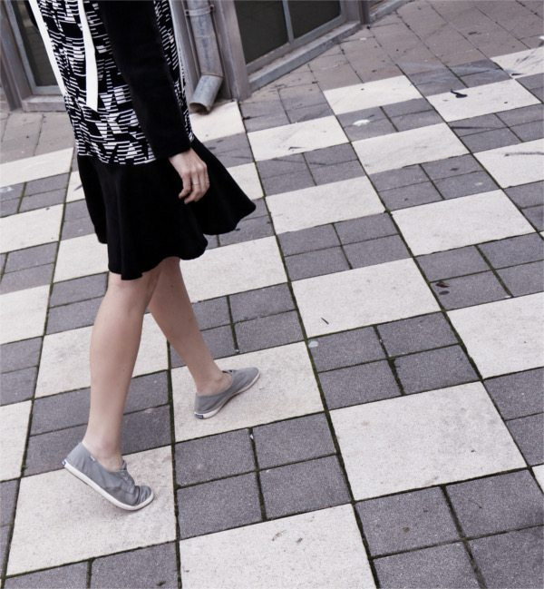 cute dress and sneakers
